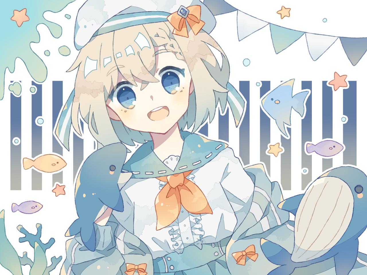 くじらさん Illust of 杢葉 August2021_Animal original girl sea oc summer sailor_uniform クジラ