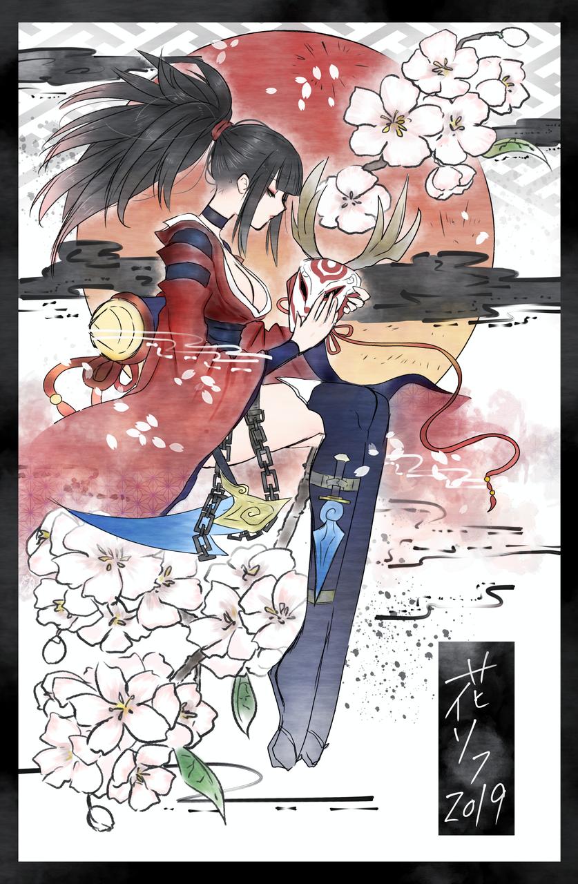 akari&sakura Illust of nora girl Japanese_style LeagueofLegends 黒髪 sakura kimono Akari medibangpaint 春
