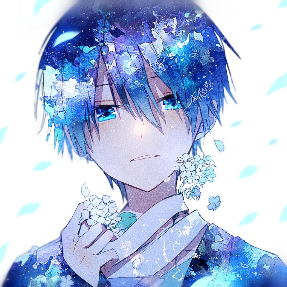ゼラニウム Illust of 遥川遊 original blue オリジナル創作 boy watercolor oc