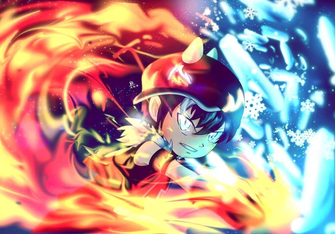 Boboiboy Frost Fire ❄️🔥 Illust of putrisaraswatidewi medibangpaint Boboiboy