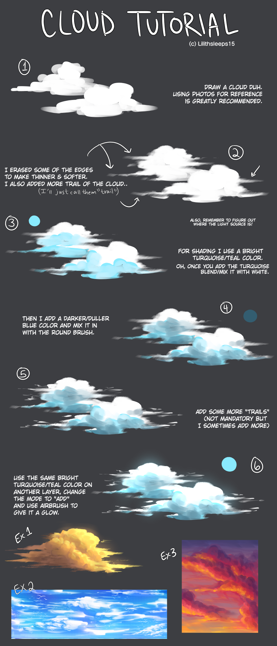 Cloud Tutorial Illust of Somnvari 雲の描き方 メイキング clouds