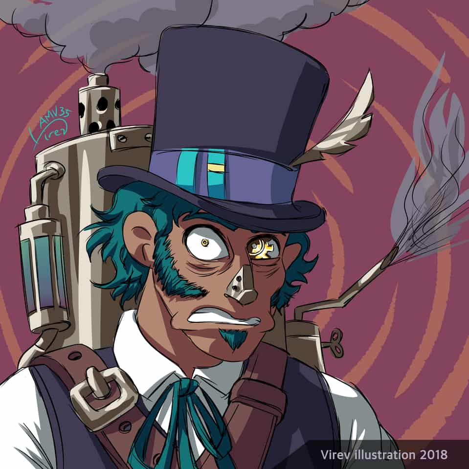 Steampunk guy Illust of Virev Hat steampunk hat machine tophat