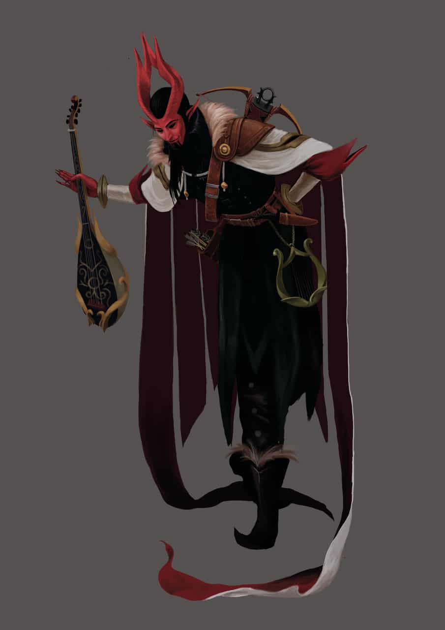 tiefling DnD Illust of sandkuwng fantasy character Dugeonanddragons illustration