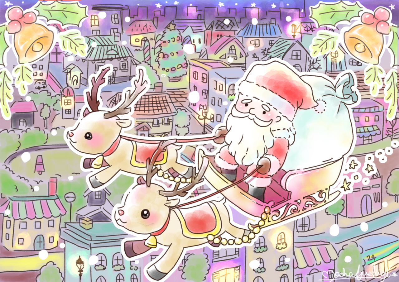 サンタクロース Illust of もかふしぎ December2020_Contest:Santa Christmas 街並み トナカイ サンタ ソリ