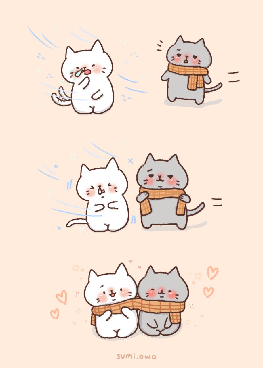 🐱🐱 Warm Together🔥🔥 Illust of Sumi illustration MyArt cat artist cute art drawing Artwork digital chibi