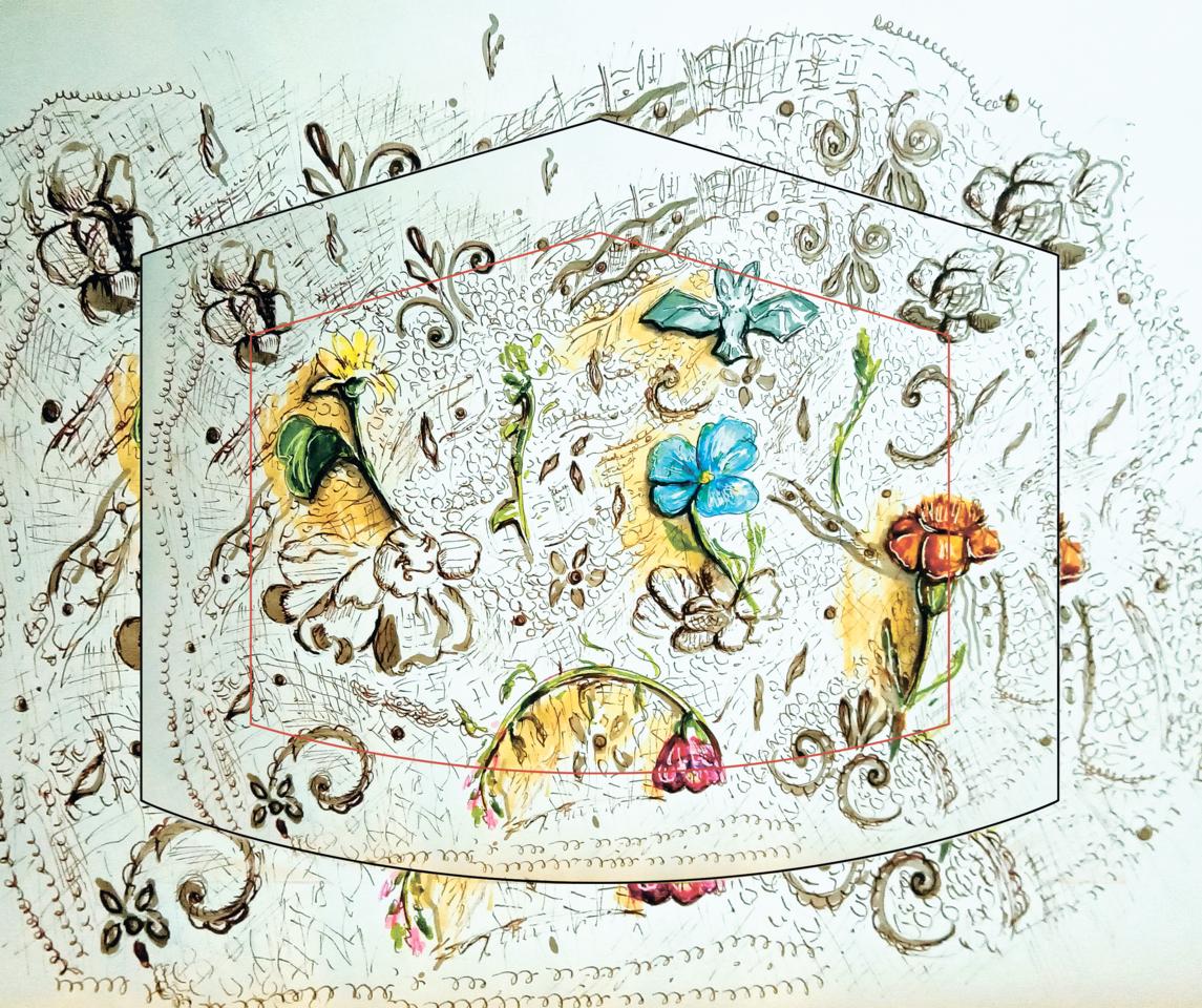 Live and health (corrected maket) Illust of Igla_Nitochkina MaskDesignContest mask drawing lace nature maskdesign illustrationart