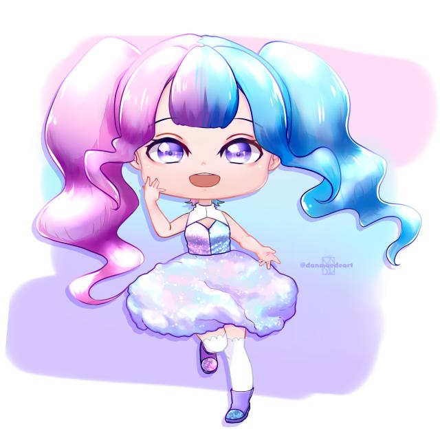 Cotton Candy Illust of DanMaeDe_Arts chibi blue purple sweet pink cottoncandy oc
