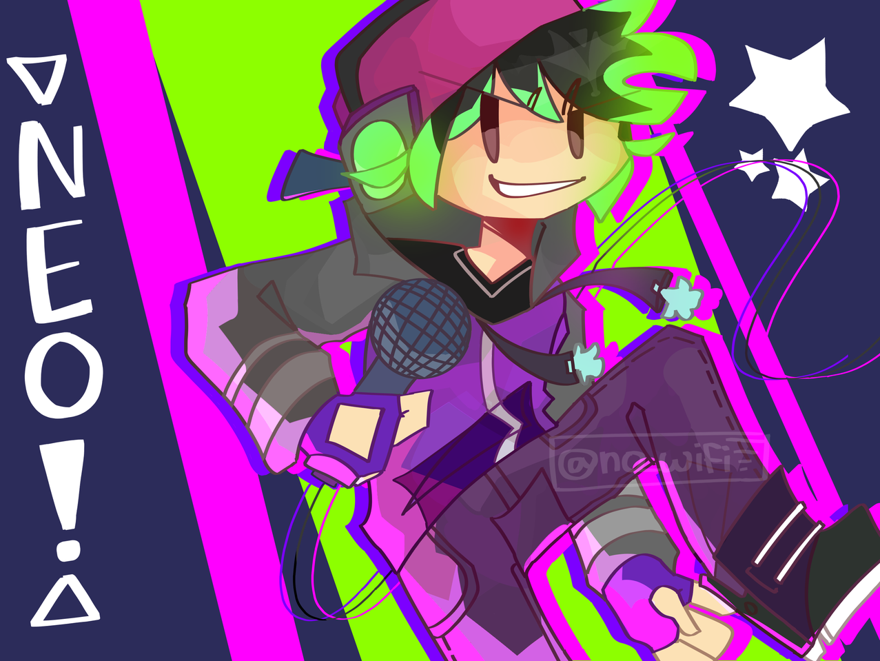 🚫 Illust of RiiRen medibangpaint fnfneo fanart fridaynightfunkin boyfriend green illustration fnf mod neon