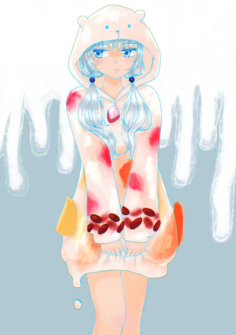 白くまアイス Illust of ちを June2021_Anthropomorphism ice-cream ツンデレ 甘い クール oc girl しろくま kawaii