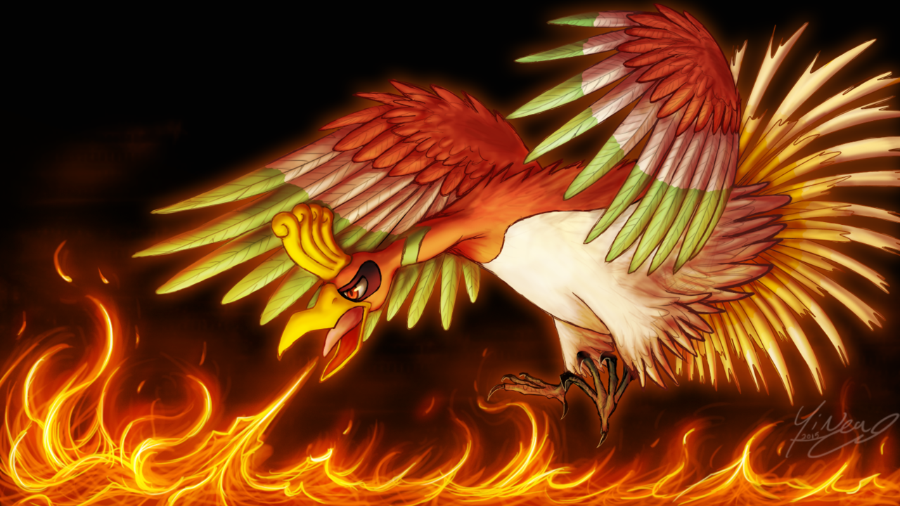Sacred Fire Illust of Yinea anime fanart Ho-oh photoshop digital birds Legendary fire pokemon