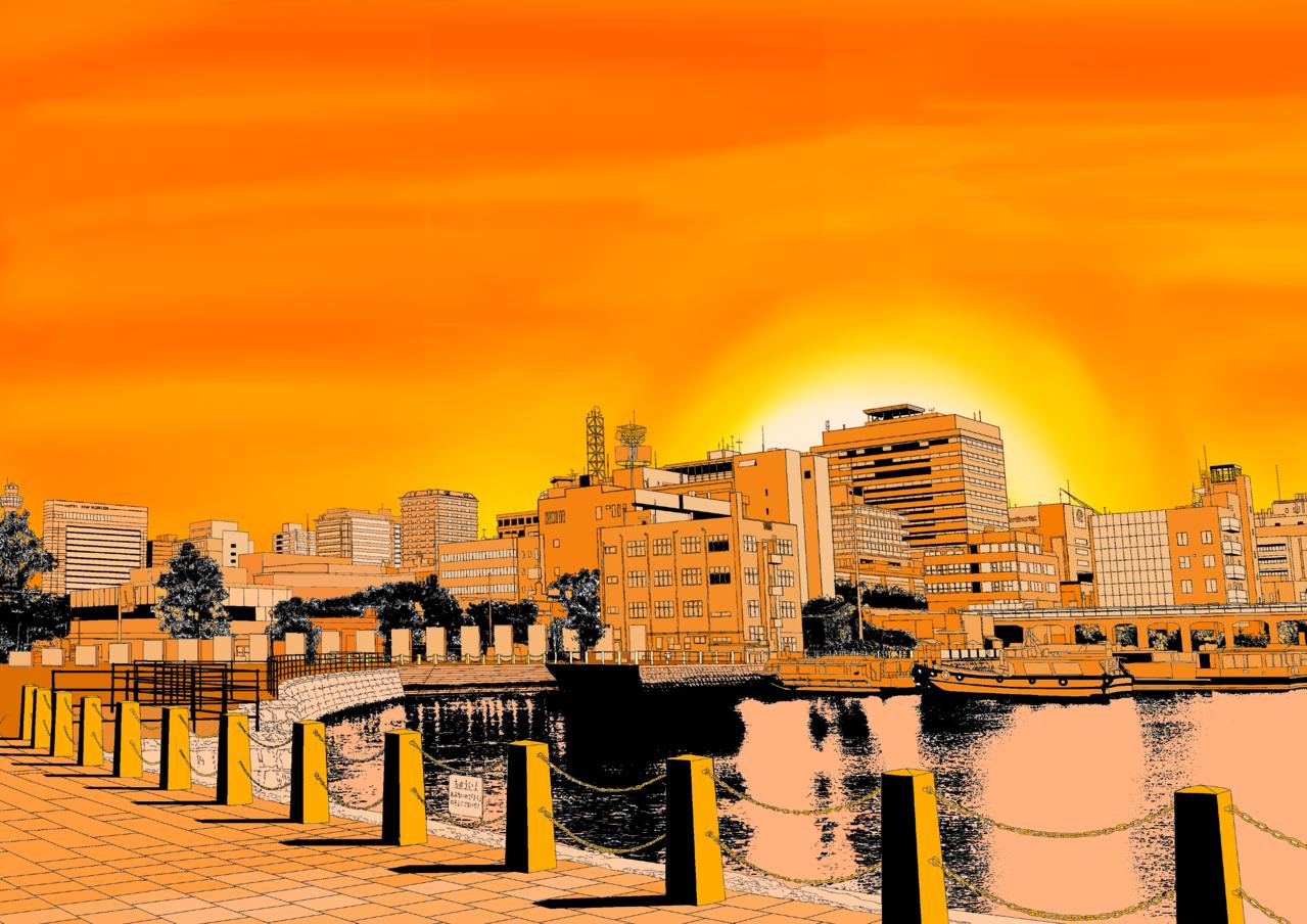 夕陽之下的城市 Illust of 章魚燒 Background_Image_Contest BackgroundImageContest_Coloring_Division