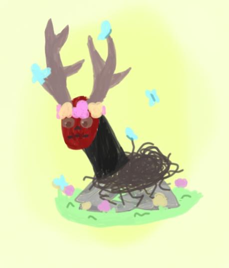 Dream Deer, but  ✨wholesome✨ Illust of 💫 Breeze 💫 black DreamDeer wholesome