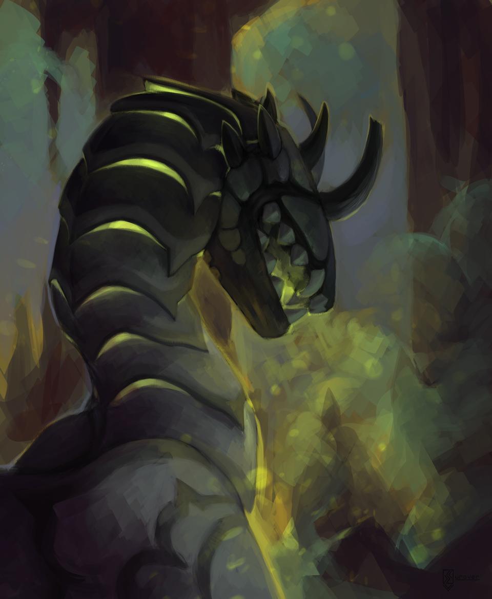 Underground monster Illust of Surover fantasy digital feral monster commission dragon semirealism semirealistic