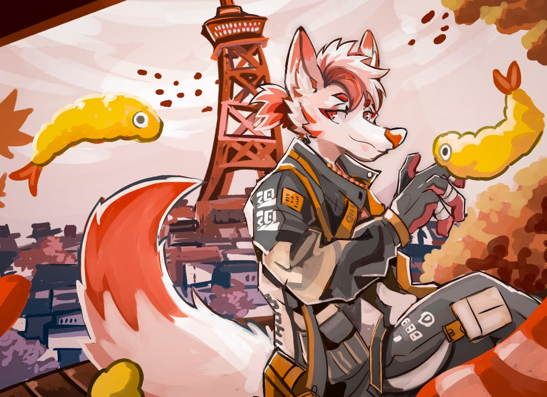 炸蝦豆皮烏龍麵 Illust of 肯尼吉 March2021_Creature background youkai fox furry monster 獸人