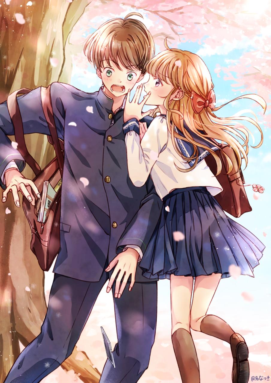 桜と「好き」 Illust of 月名なつき 高校生 創作男女 original sakura sailor_uniform 学ラン 春