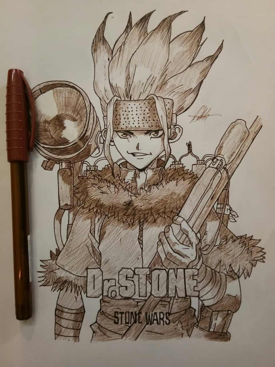 Ishigami Senkū of Dr. stone Illust of Kai_cheewah.1 anime drawing Artwork manga art Dr.STONE traditional