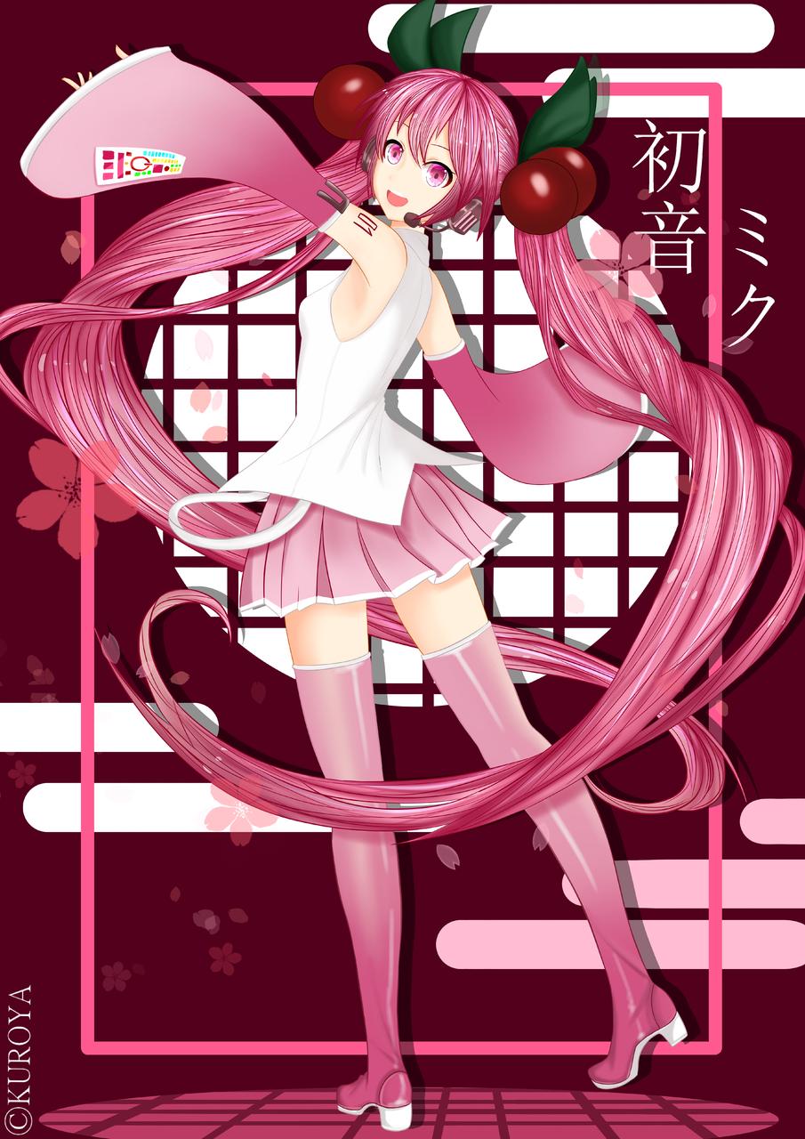 桜ミク Illust of 黒や hatsunemiku girl miku pink sakura anime