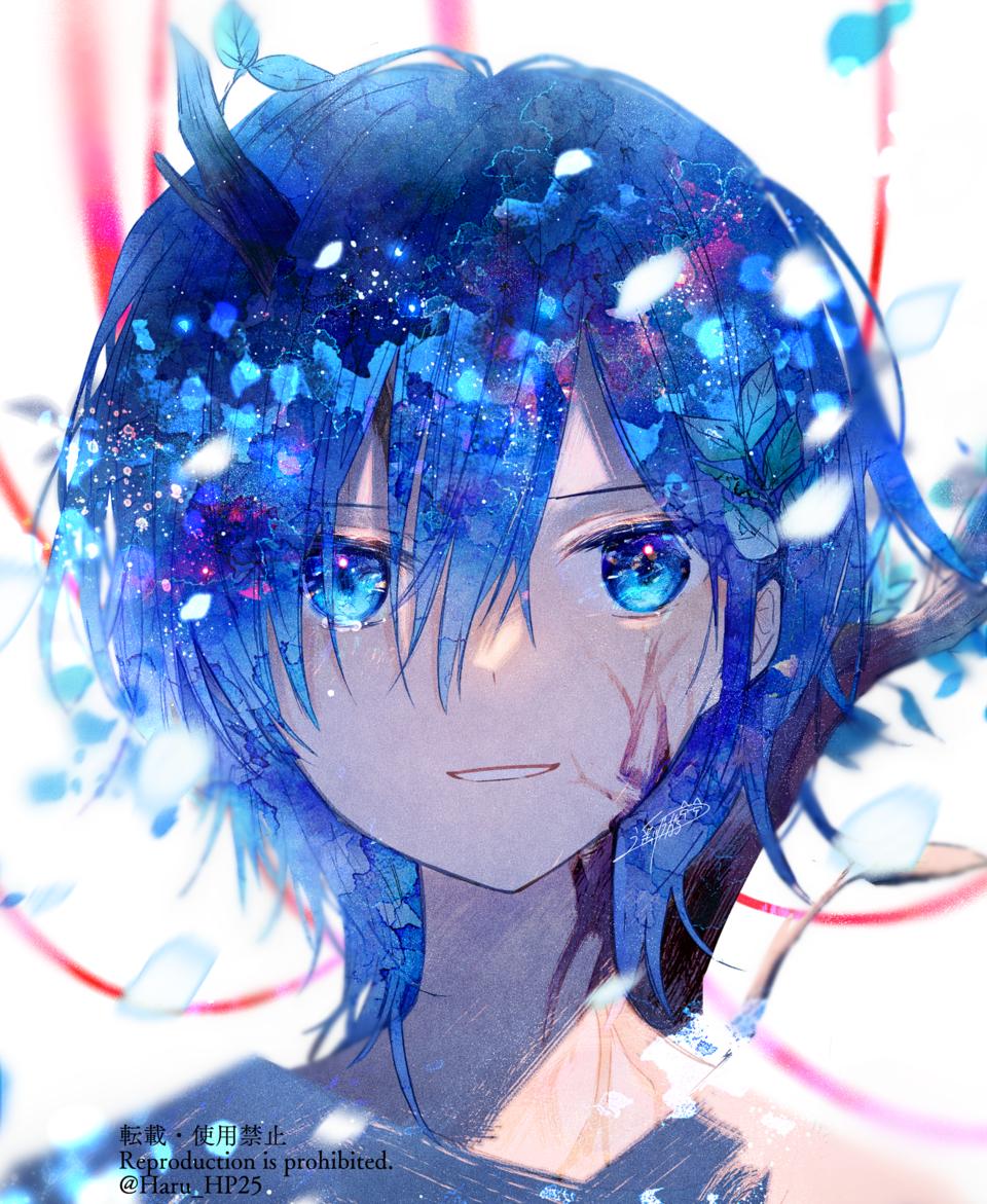 これも運命だってさ Illust of 遥川遊 original blue オリジナル創作 boy watercolor oc