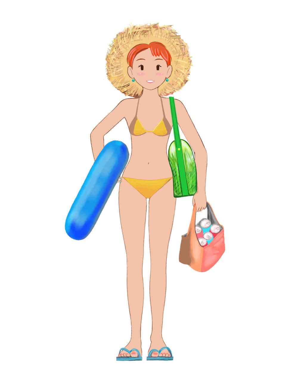 水着2 Illust of beach st ガール ビーチサンダル girl 小麦色の肌 POP スマイル summer 浮輪 Strawhat bikini