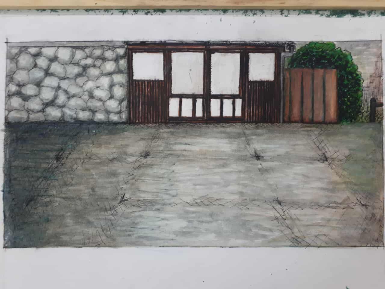 Random Scenario Illust of GinaB street Japanese_style wall scenery Doors