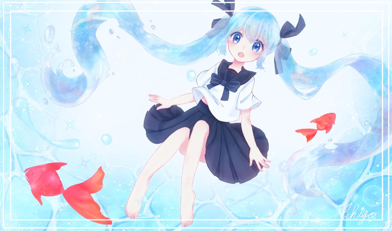 ボトルミク Illust of イチミル hatsunemiku girl water ボトルミク 39 blue goldfish 綺麗