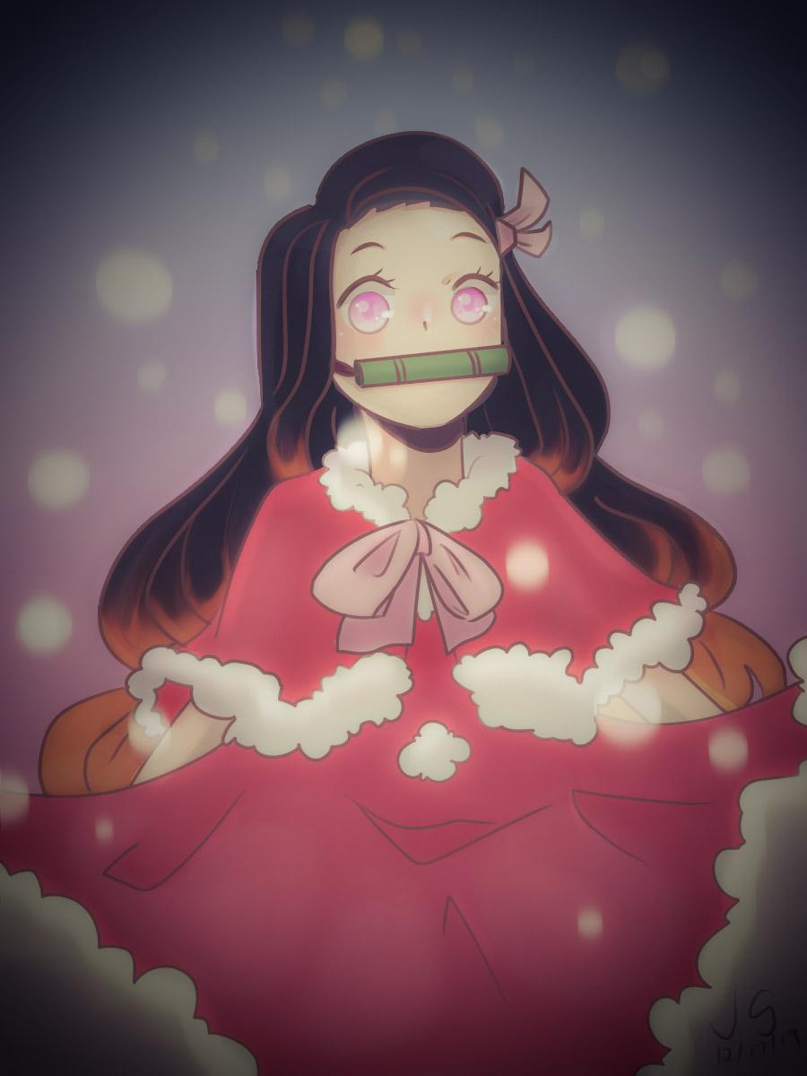 Merry Nezuko Christmas Illust of JNere medibangpaint snow anime KimetsunoYaiba Christmas KamadoNezuko animegirl