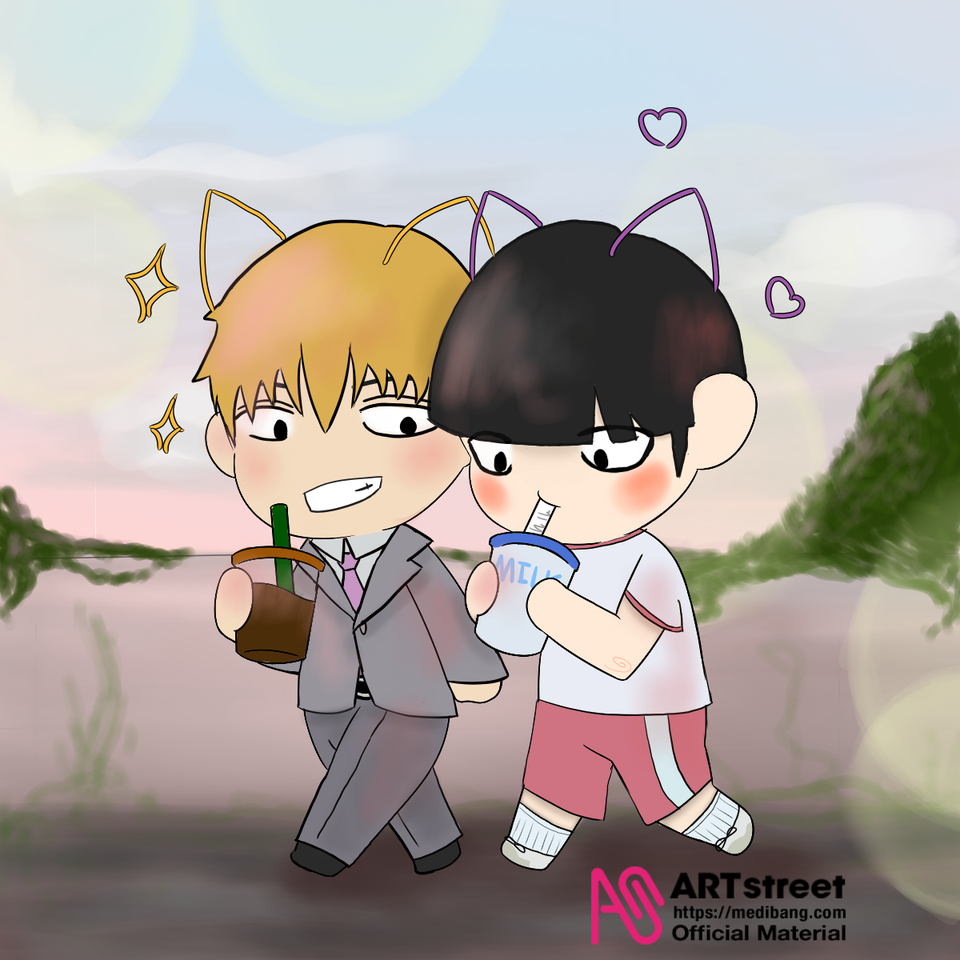 Mentor and Protégé Illust of Quinn M. tracedrawing3rd MobPsycho100 cute AratakaReigen coffee milk Trace&Draw【Official】 mob