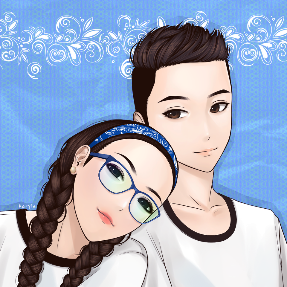 My boyfriend and I Illust of Karyle anime shirts girl boyfriend white boy blue girlfriend couple sweet
