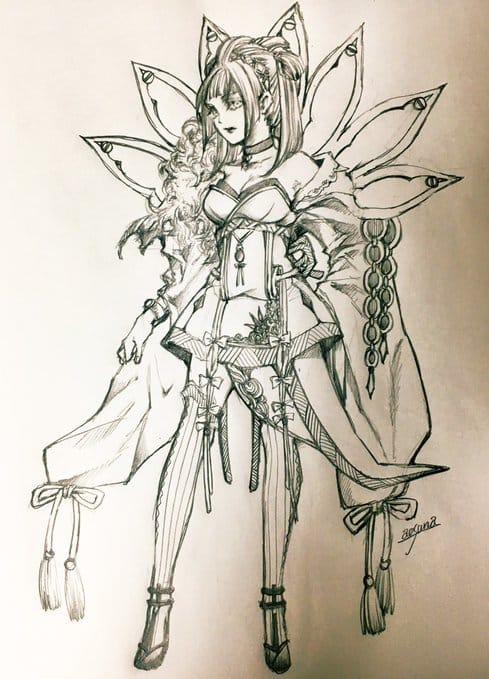 キャラデザ Illust of 青砂時計 ファンタジーキャラ original シャープペン oc AnalogDrawing