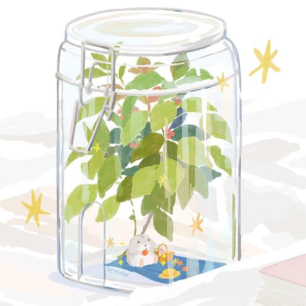 瓶装野餐 Illust of yeyuan February2021_Fantasy Plants original cute