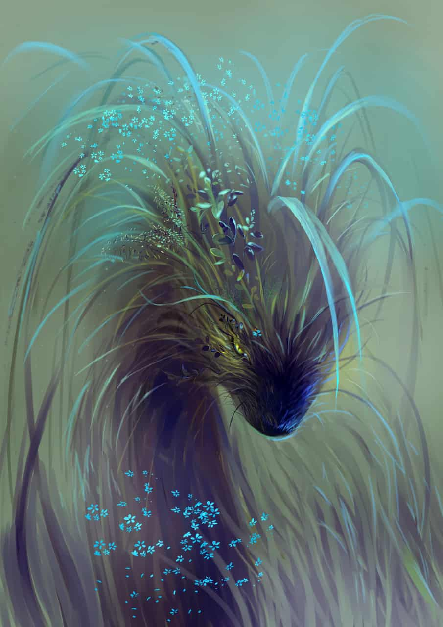 Lurking in the meadows Illust of Lear horror March2021_Creature August2020_Contest:Horror MySecretSocietyContest February2021_Fantasy creature monster mysterious grass