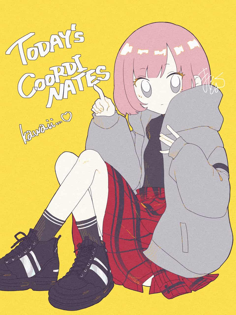 ピンクボブ Illust of まにとむ original girl illustration