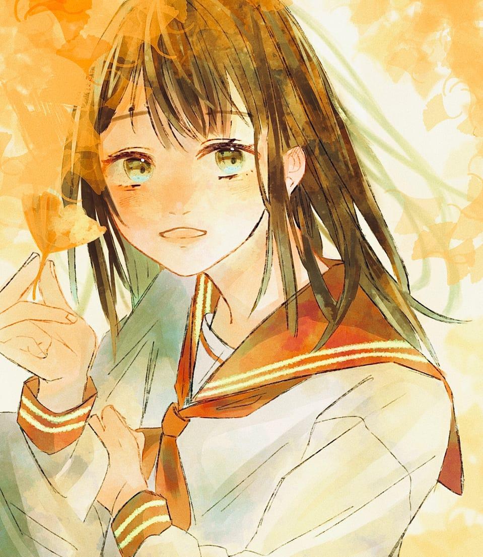 秋 Illust of 喜怒哀楽 illustration girl sailor_uniform イチョウ オレンジ 描いてみた 季節 autumn yellow