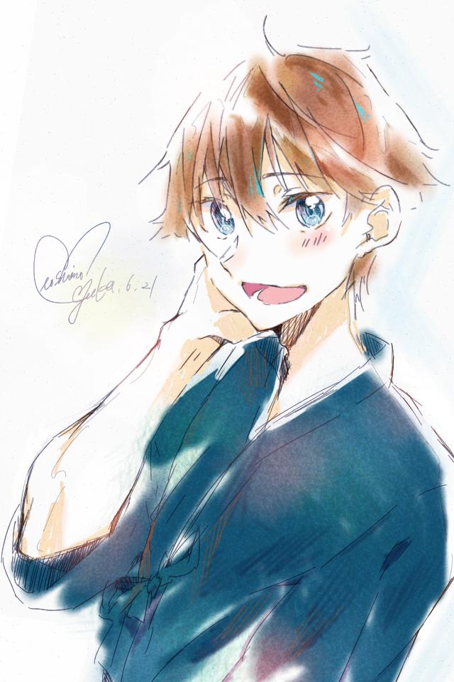 笑顔 Illust of 星野 ゆか@再浮上 eyes medibangpaint original きんにく‼︎ blue smile 爽やか!(多分) doodle 部活 茶髪 boy