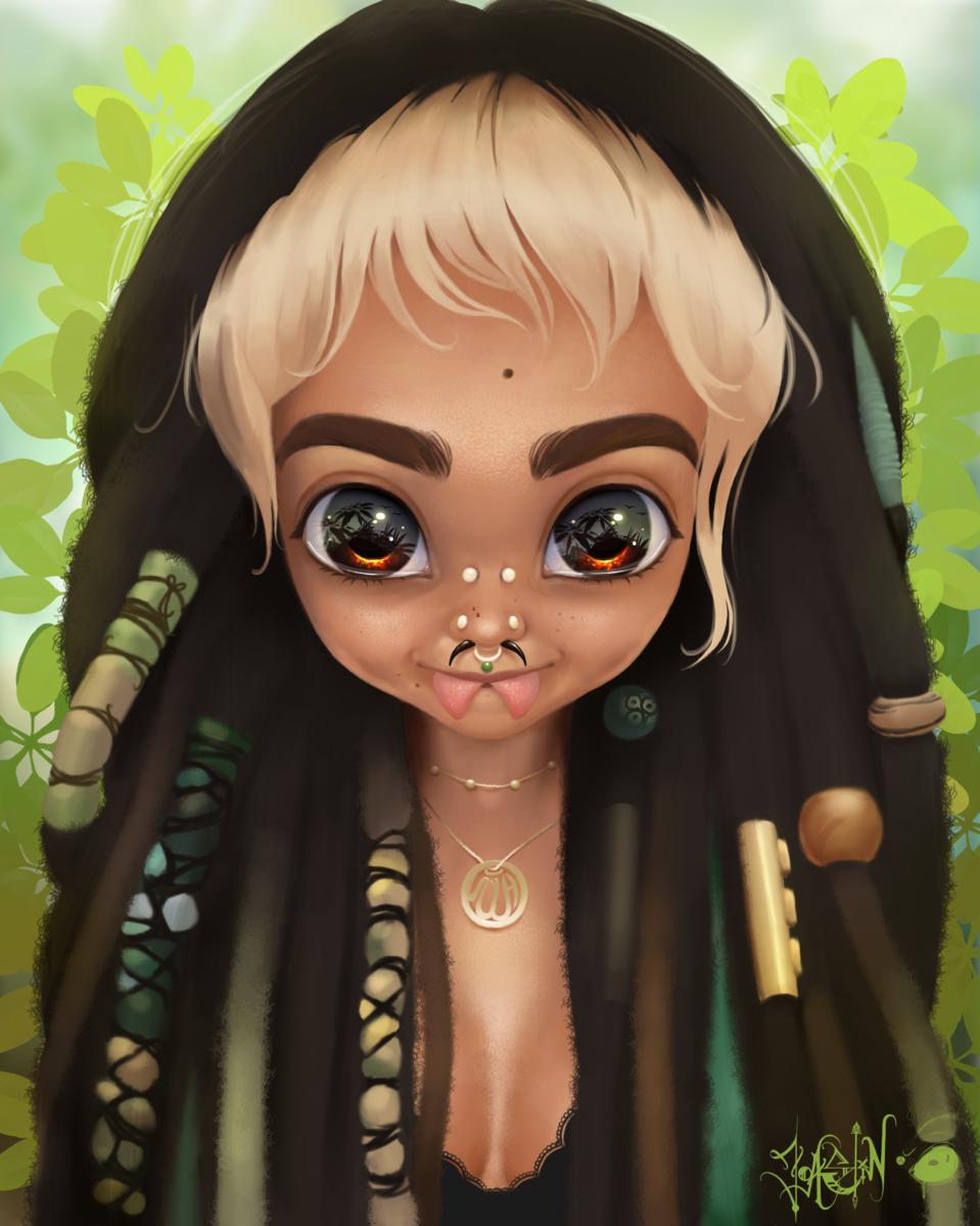 Free elf 🌱 Illust of JoAsLiN art dreadlocks girl oc cute anime illustration piercing digital original
