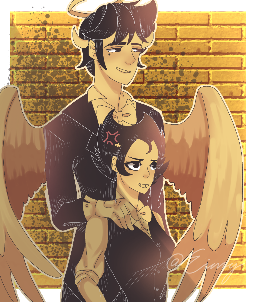 BATIM(genderbend)•Alex angel,Betsy #1 Illust of Eimy _•Violet wolf•_ medibangpaint