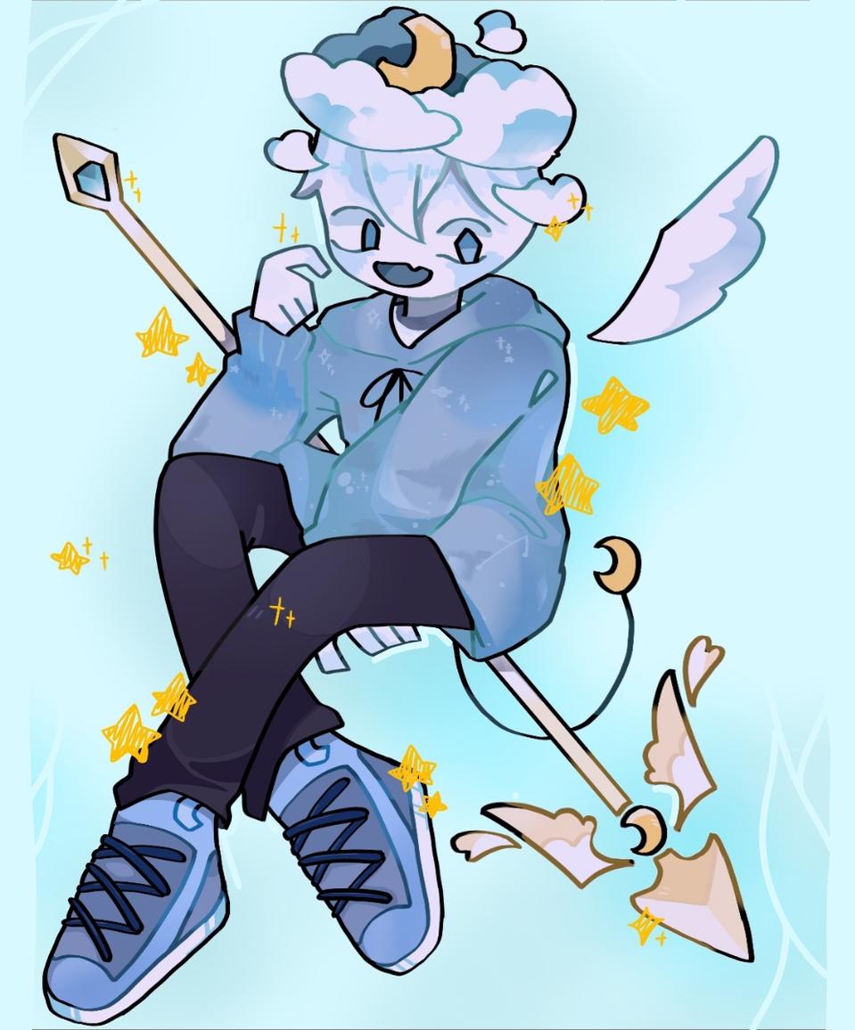 Cloudy Illust of Demon KID medibangpaint blue pastel angel boy character demon oc fairy cute