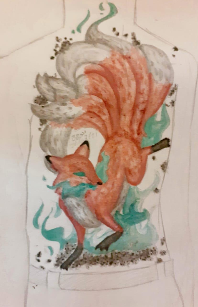 Kitsune tatoo Illust of BushBabyOrigins red art Kitsune fox green orange Watercolour Tattoo traditional