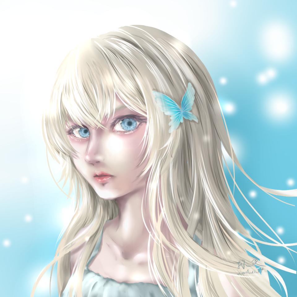 練習 Illust of 詠夜 blonde girl practice impasto 蝴蝶