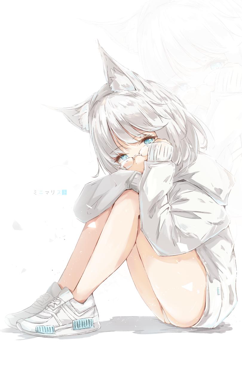Minimalist Illust of みずき@ミッキー DOGvsCAT_CAT original girl animal_ears cute art medibangpaint