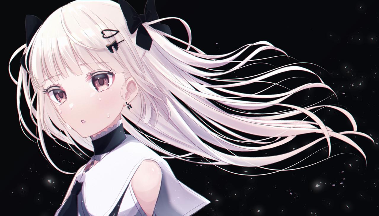 涙 Illust of じゅにねう Emo tears girl white_hair original