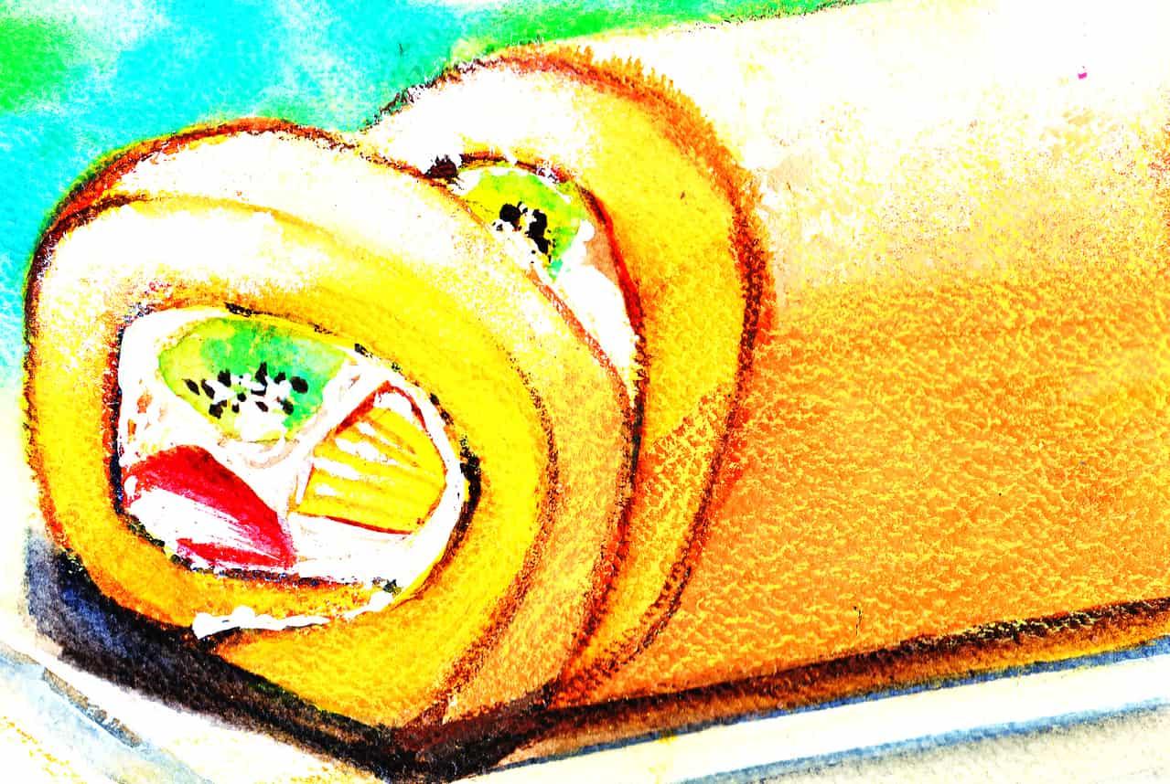 ロールケーキ Illust of おち☆よしかず(Occhiiy:オッチー☆) October2020_Contest:Food cake 透明水彩 アナログの本気 ロールケーキ food fruits