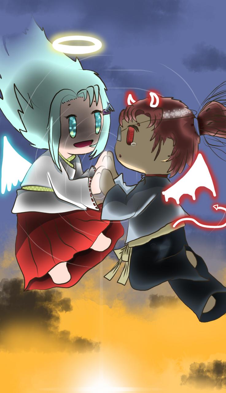 angel and devil Illust of Qiya Art tracedrawing4th original angel devil medibangpaint sky sunset