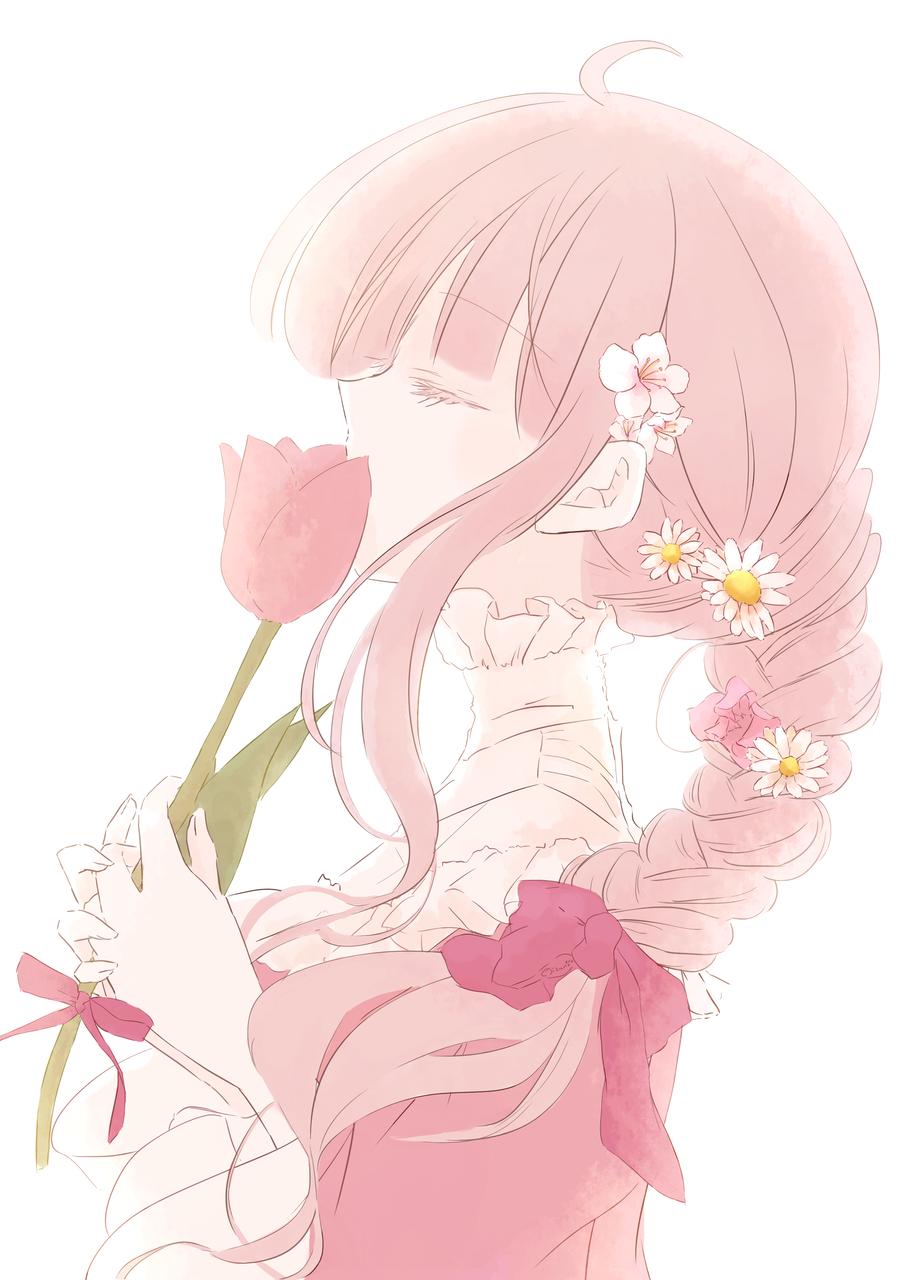 🌷 Illust of 水野 ユズ April2021_Flower pinkhair girl original