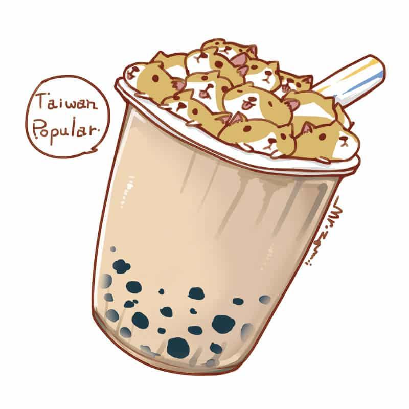 Taiwan popular food~Pearl milk tea Illust of Aries puppy dog delicious おいしい ペット コーギー corgi