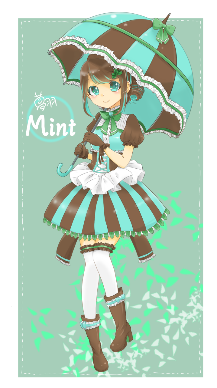Choco mint Illust of 夢羽 結 Post_Multiple_Images_Contest girl Personification oc ice-cream お菓子 チョコミント illustration