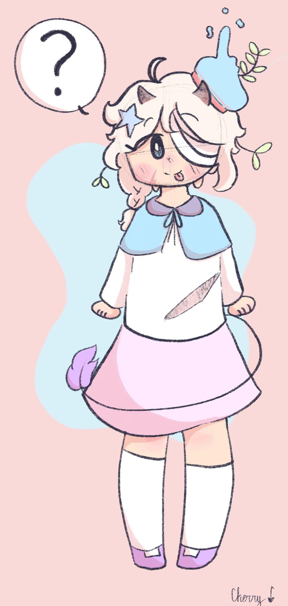 Adopt from sydsbrain Illust of Cherry 🍒 (skid mode) oc drawing cute