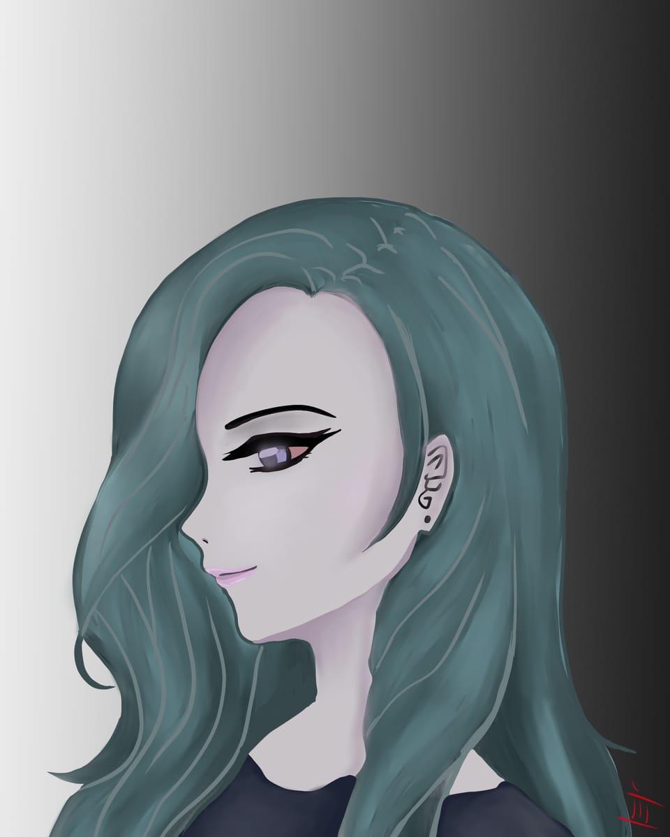 Sky Blue Illust of J B. woman girl Dark eyes cute blue sideface Pretty smile