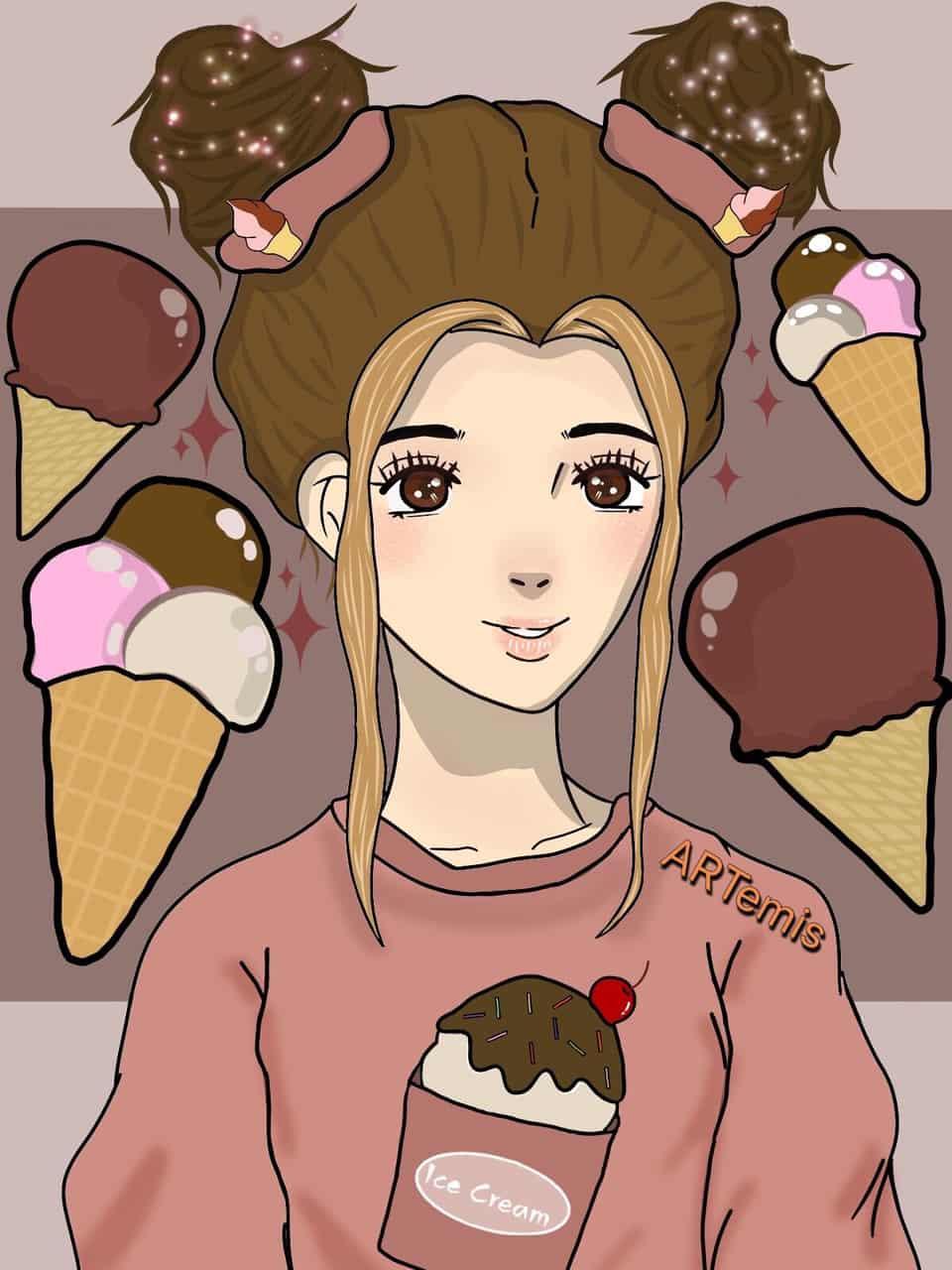 Ms. Aisukurīmu Illust of 🌜Mayari🌛 ice-cream medibangpaint iPad_raffle cream icecreamgirl