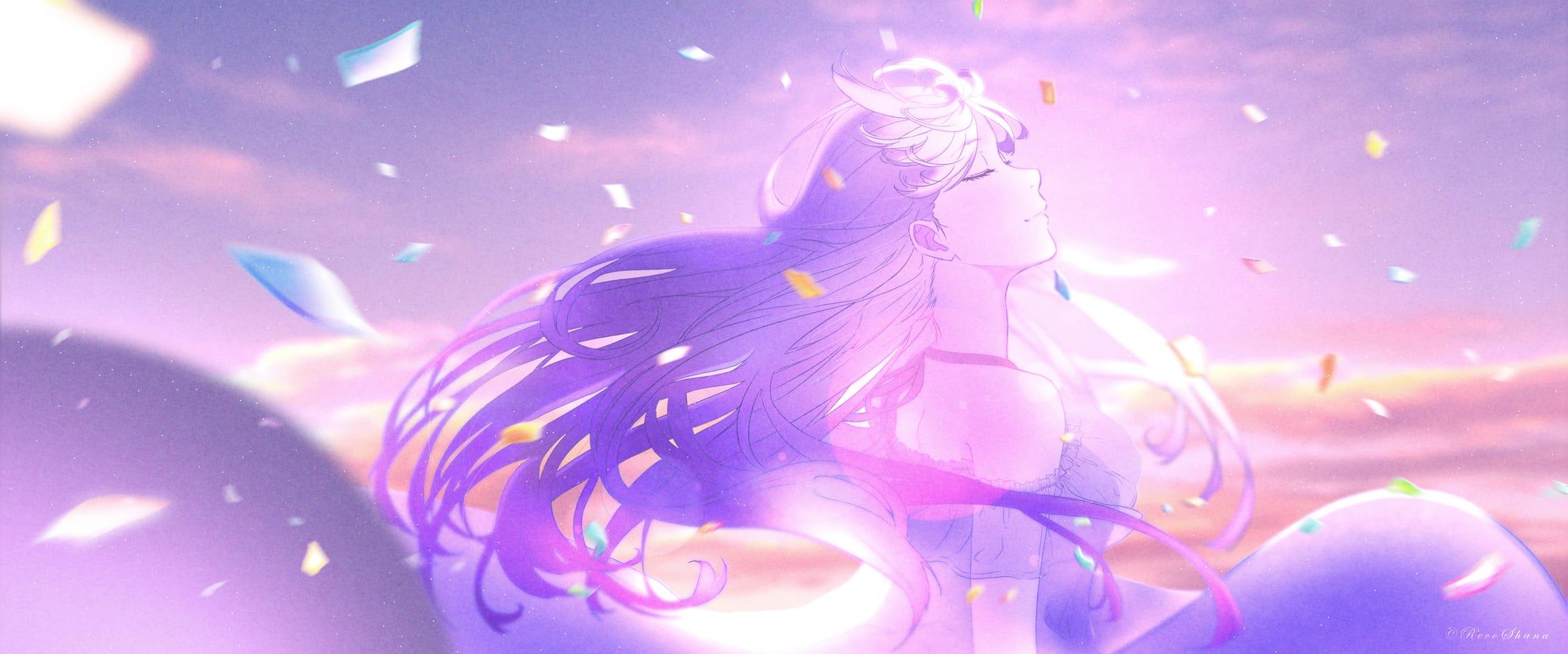 SHE WAITED Illust of recoshana pink sky animeart animegirl anime illustration digitalillustration clouds